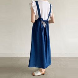 N Ribbon Denim Long Dress