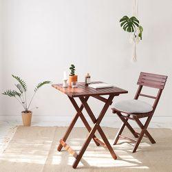 [리퍼브] 브라우니 원목 접이식 카페 테이블 basic SET