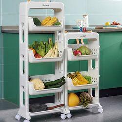 주방 용품 정리 바나코 이동식 다기능 선반 3단