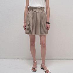 Adorable Pleats Mini Skirt - Beige