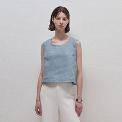 Linen Crop Sleeveless - Sky blue