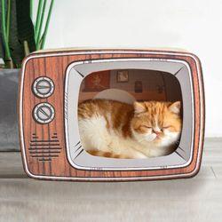 고양이 가전제품 스크래처 텔레비전 하우스 숨숨집