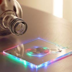 LED 컵받침 아크릴 티코스터 스퀘어사각 (레인보우)