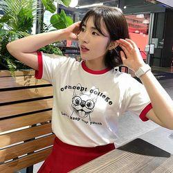 컨셉트컬리지 퍼피 레이디 레드 링거티 / 반팔 티셔츠 (여성용)(ITEMWCTEJYG)
