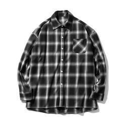 매스노운 오버핏 체크 셔츠 MSOST004-BK