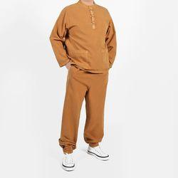 2355 [남녀공용] 자수포인트 티셔츠+바지 세트 20수 순면 8색상