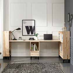 그리나 삼나무 2인용 책상 세트 A형