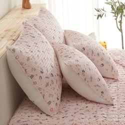 블루밍 시어서커 꽃무늬 여름베개커버50X70 핑크