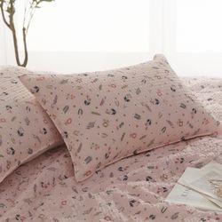 블루밍 시어서커 꽃무늬 여름베개커버40X60 핑크