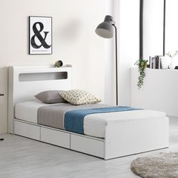 프레드 LED 3단 수납형 침대SS+독립볼라텍스 매트리스