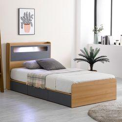 프레드 LED 3단 수납형 침대SS+독립라텍스 매트리스