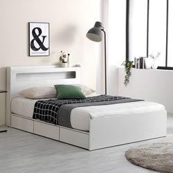 프레드 LED 3단 수납형 침대 퀸Q+본넬 매트리스