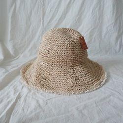 넓은챙 레이스 밀짚 라피아 UV차단 와이어 여름 모자 (2color)
