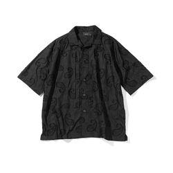 매스노운 페이즐리 자카드 오버사이즈 하프셔츠 MUOST007-BK