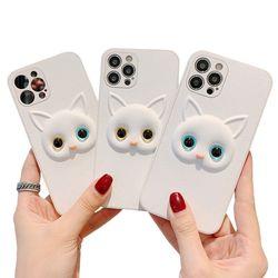 아이폰12 11 PRO MAX XR SE2 8 화이트 고양이 케이스