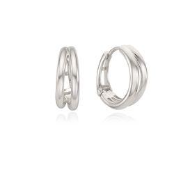 두줄 라인 스터링실버 원터치 링 귀걸이 OTE121604NSS