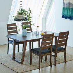 와트 루디 고무나무원목 4인용 식탁세트