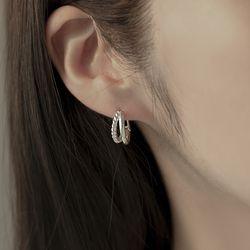 하프 꼬임 스터링실버 원터치 링 귀걸이 OTE121605NSS