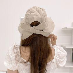 린넨 여름 리본 벨크로 보넷 벙거지 모자