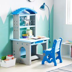 하이지니프로 책꽂이 있는 책상&의자 세트 파스텔블루