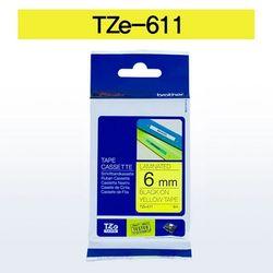 브라더 테이프카트리지 TZ611(6mm Yellow Black)