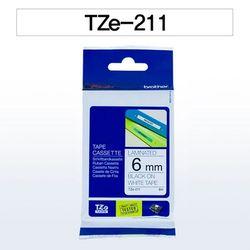 브라더 테이프카트리지 TZ211(6mm White Black)