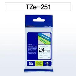 브라더 테이프카트리지(TZe-251 24mm 흰색 흑색문자)