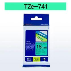브라더 테이프카트리지(TZe-741 18mm 녹색 흑색문자)