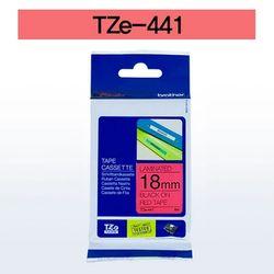 브라더 테이프카트리지(TZe-441 18mm 적색 흑색문자)