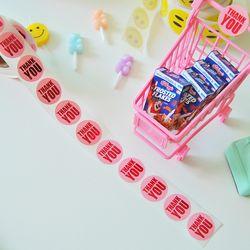 핑크 글리터 땡큐 롤 스티커(500개)