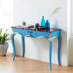 슬루딘 엔틱 원목 거실 콘솔 테이블 블루