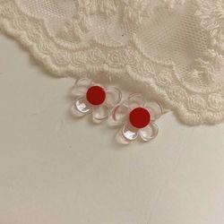[봄밤달] 빨간 꽃 귀걸이
