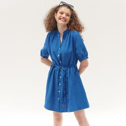 HENRY NECK STRING POINT ONEPIECE(BLUE)