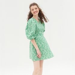 PUFF SLEEVES V NECK ONEPIECE(LIGHT GREEN)