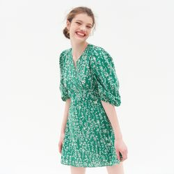 PUFF SLEEVES V NECK ONEPIECE(GREEN)