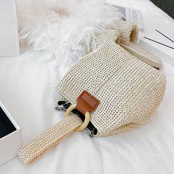 여성 체인 크로스 토트 미니 라탄 버킷 백
