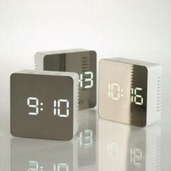미러 정사각 LED 탁상시계