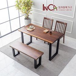 잉카가구 랑데뷰 장미나무 원목 우드슬랩 4인 식탁 세트 벤치형