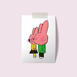 [drawingpaper] A3 포스터 - 핑크토끼