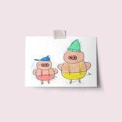 [drawingpaper] 엽서 - 돼지형제