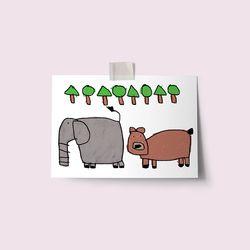 [drawingpaper] 엽서 - 코끼리와곰