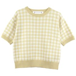 Gingham Check Crop Short Sleeve Knit