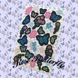 rose butterfly sticker (홀로그램스티커)