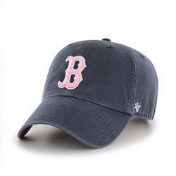 47브랜드 MLB모자 보스톤 네이비 빈티지 핑크빅로고