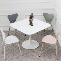 더조아 유니테이블1000사각 화이트 식탁 라운드 테이블