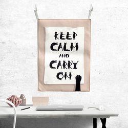패브릭 포스터 - 고양이 알파벳-keep calm and carry on
