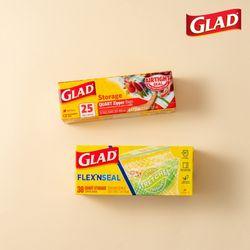 [글래드] 지퍼백 일반중형+플렉스앤씰 냉장중형(38매)