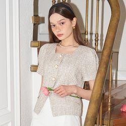 Button Point Linen Tweed Jacket_ Beige