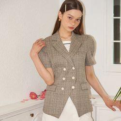 Puff Shoulder Linen Jacket_ Brown