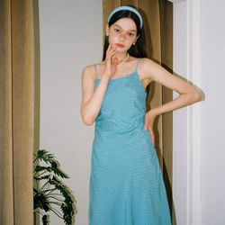 Waist Shirring Slip Dress_ Blue